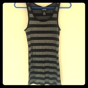 Long black and silver tank top